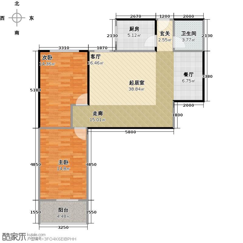 哈佛印象113.66㎡G-1户型2室2厅1卫