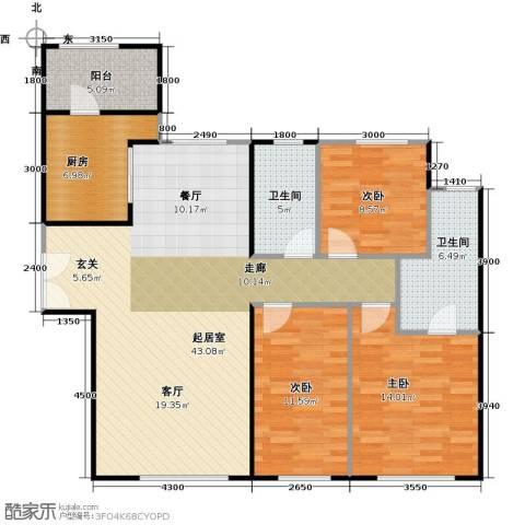天润・香墅湾1号3室2厅2卫0厨136.00㎡户型图