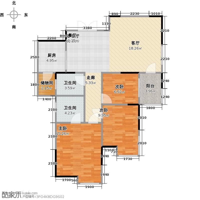 兴威朱雀门107.86㎡A4-1户型3室2厅2卫