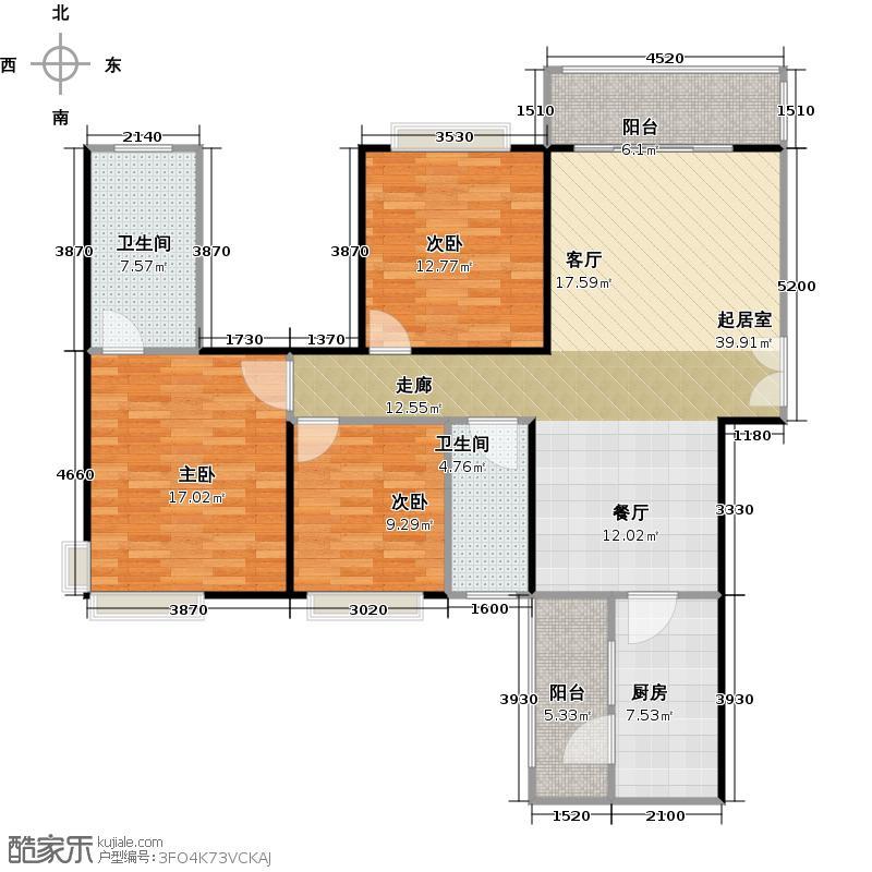 龙湾国际118.39㎡B1户型3室2厅2卫
