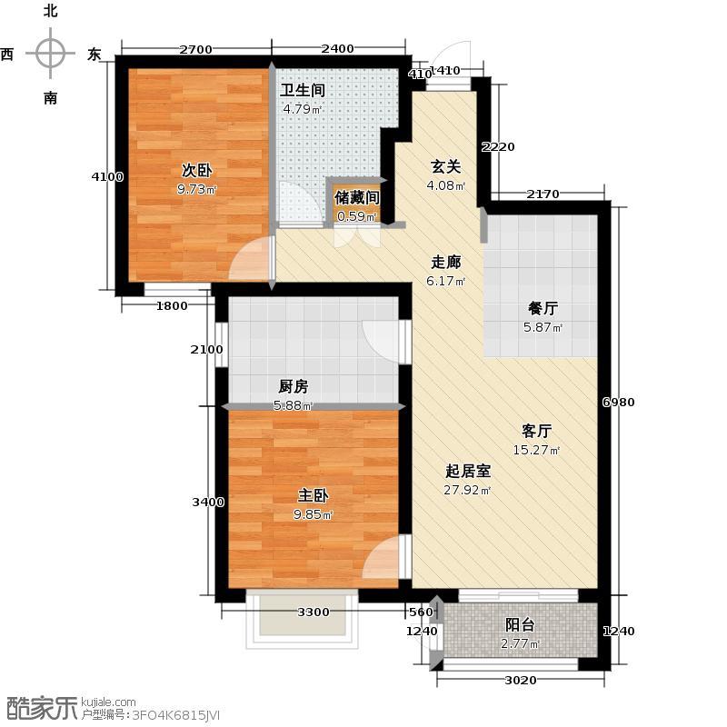 金域公园88.00㎡B3户型2室2厅1卫