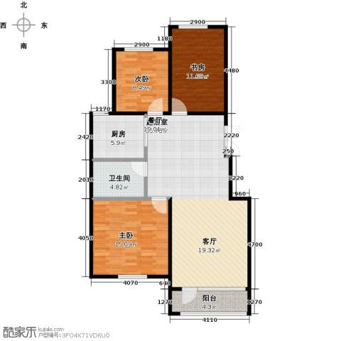 昂展公园里3室2厅1卫0厨111.00㎡户型图