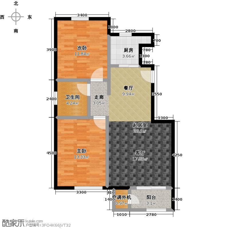 鹭岭73.97㎡11银角顶户型2室2厅1卫