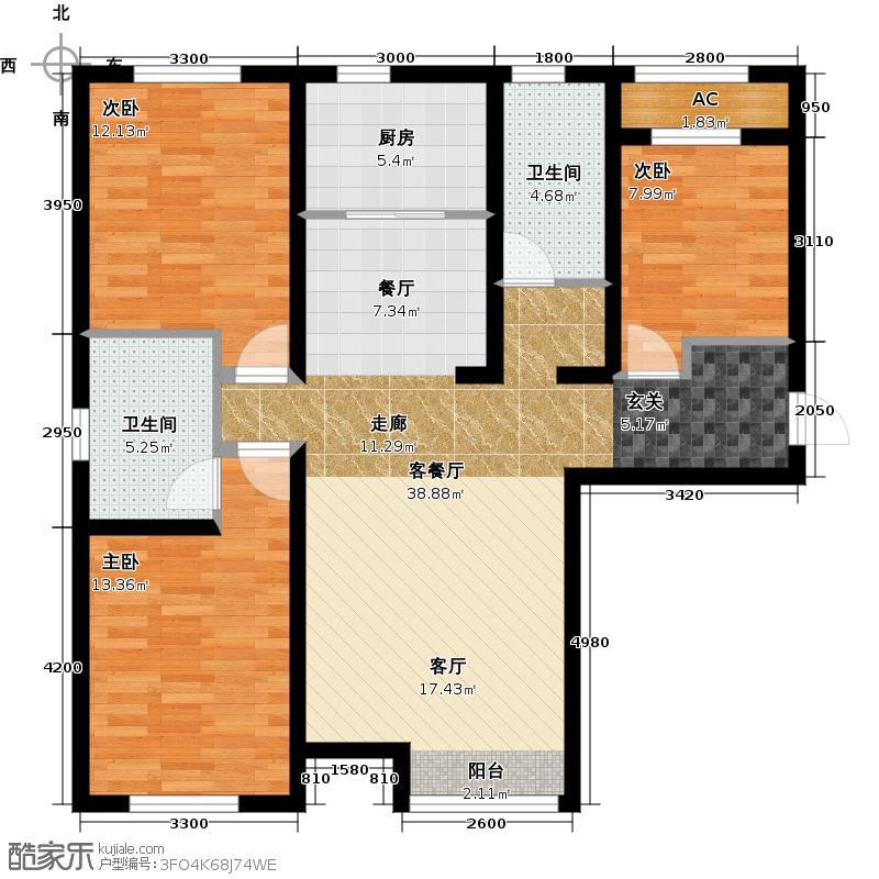 京西・金泰丽湾132.00㎡3Cg户型3室2厅2卫