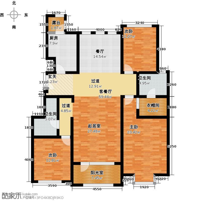 融科・钧廷160.00㎡3A户型3室2厅2卫