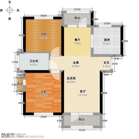 地恒托斯卡纳2室2厅1卫0厨64.85㎡户型图