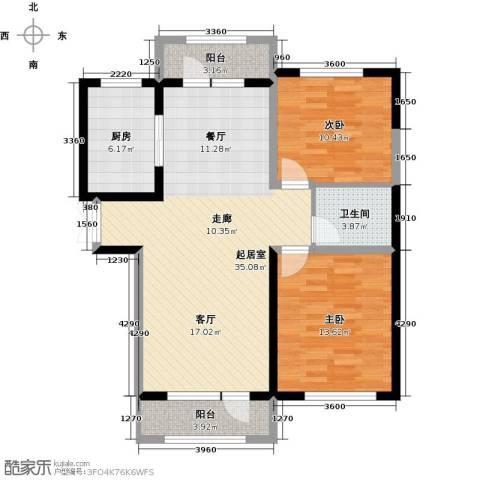 地恒托斯卡纳2室2厅1卫0厨76.25㎡户型图