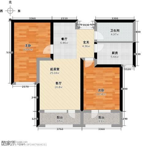 地恒托斯卡纳2室2厅1卫0厨67.60㎡户型图