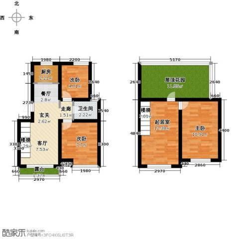 丽都新城二期爱丽香舍3室2厅1卫0厨80.00㎡户型图
