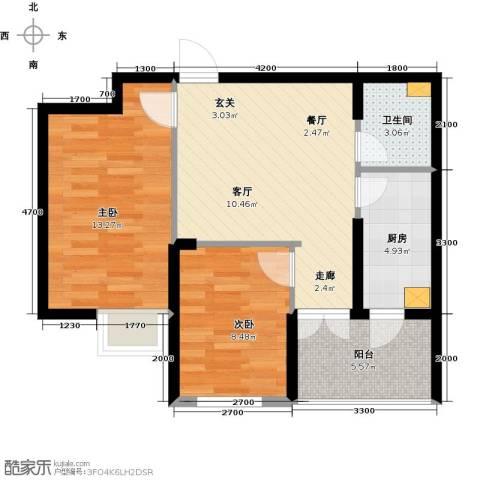 丽都新城二期爱丽香舍2室2厅1卫0厨72.00㎡户型图