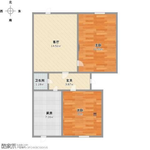 天大六村2室1厅1卫1厨67.00㎡户型图