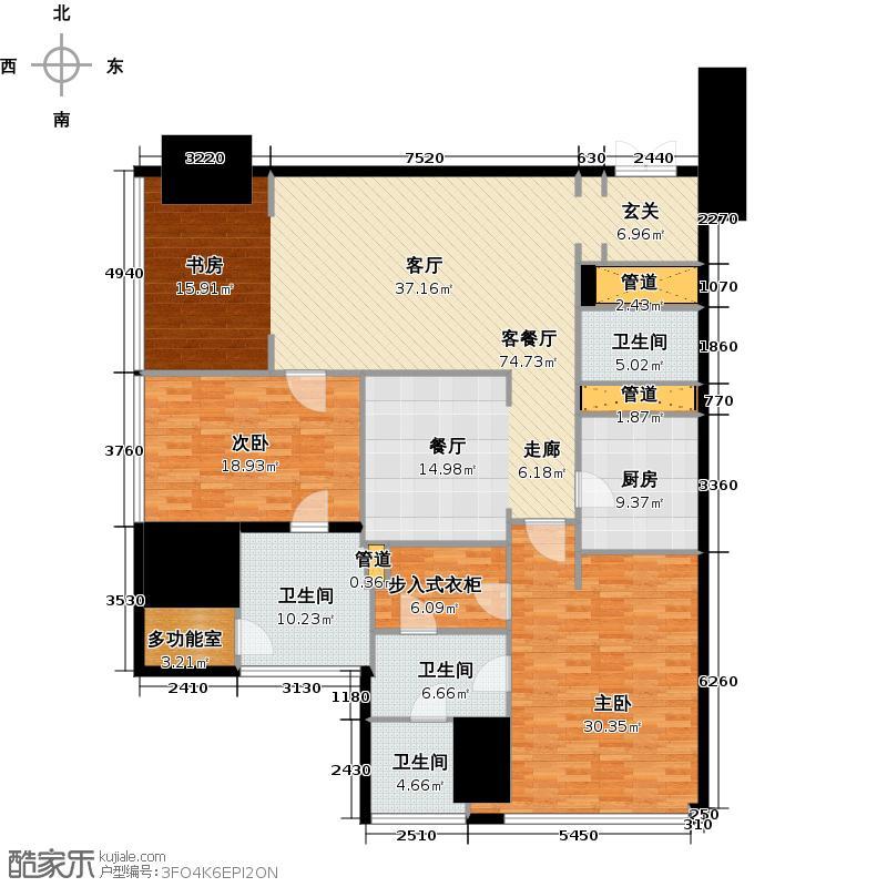 东方之门206.00㎡东方华府2005户型3室2厅3卫