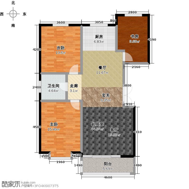 三鑫亚龙湾123.32㎡F户型3室2厅1卫