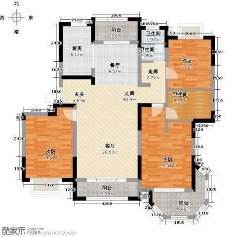 澜调国际3室2厅2卫0厨131.00㎡户型图