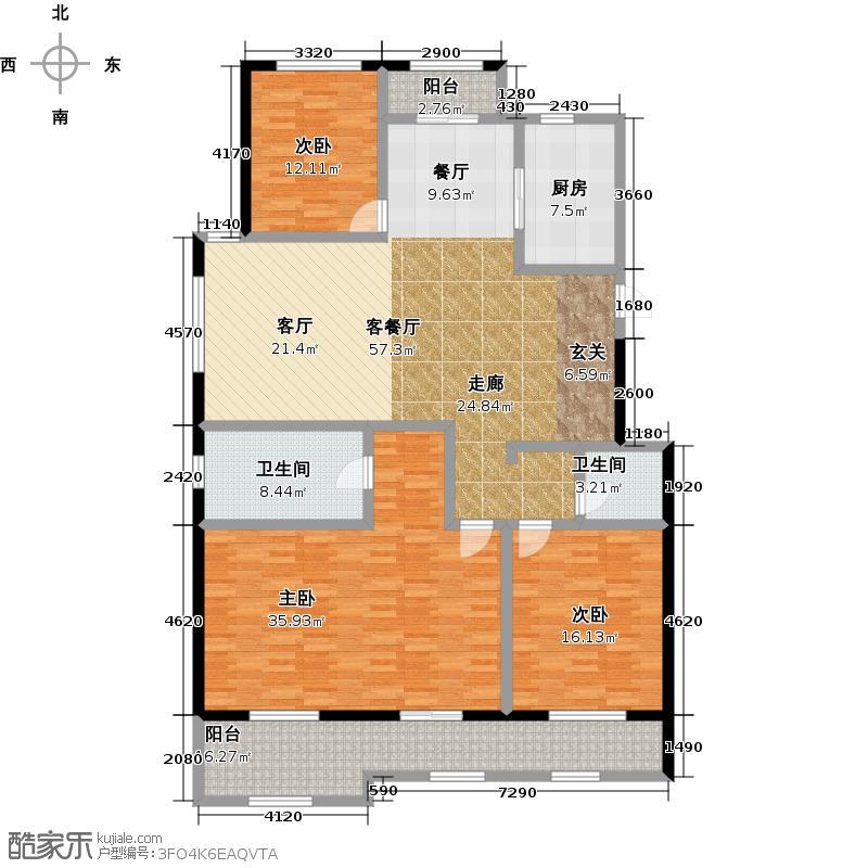 凯悦中心180.00㎡洋房帝琴苑M户型3室2厅2卫