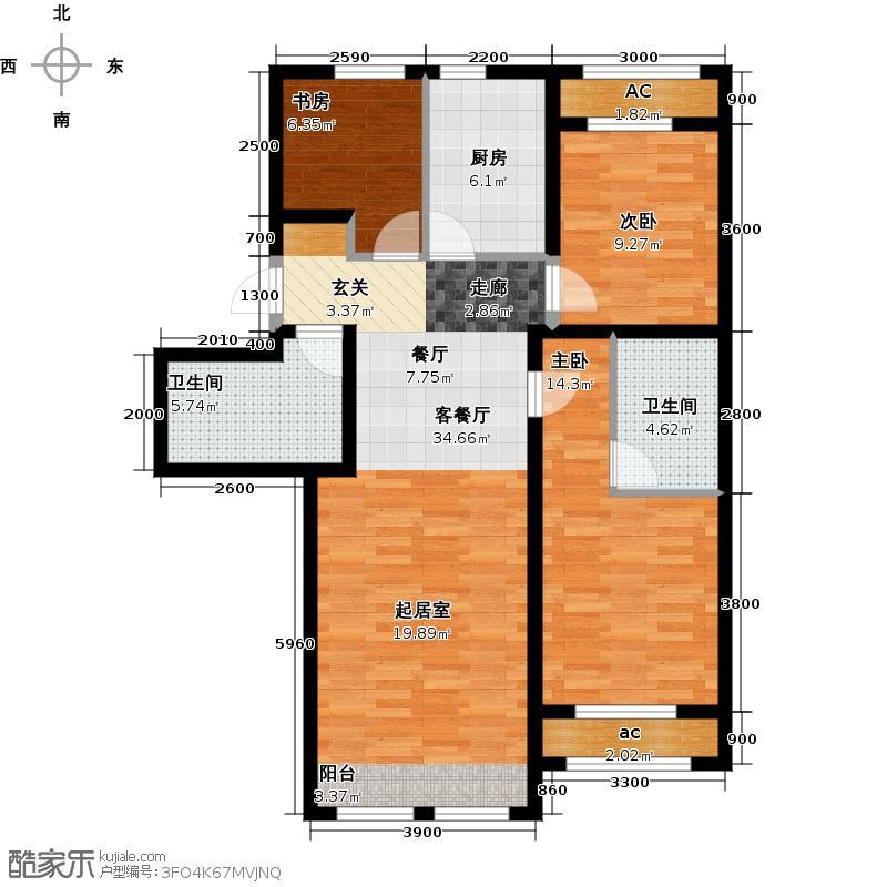京西・金泰丽湾97.88㎡3B户型3室2厅2卫