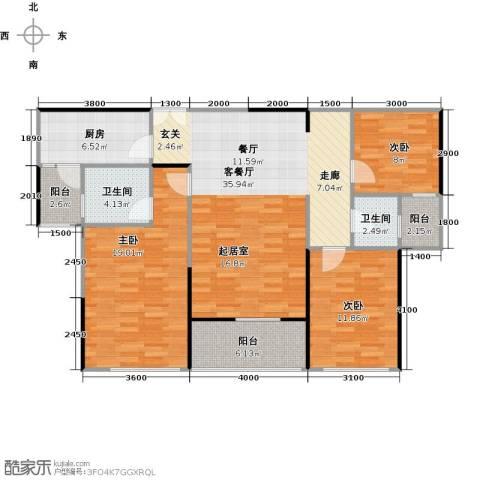 嘉福尚江尊品3室2厅2卫0厨133.00㎡户型图