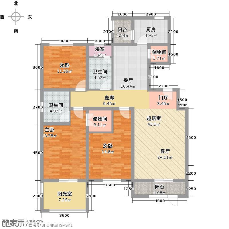 琴湖湾(东方太阳城Ⅲ)161.00㎡B38首层户型10室