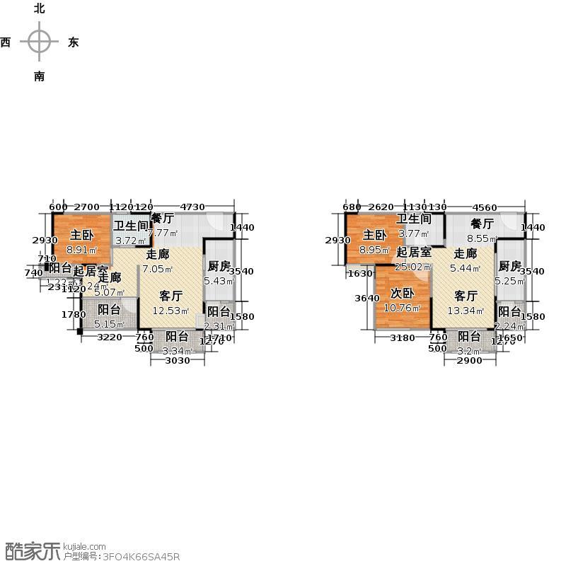 华宇天府花城131.41㎡7号楼2单元2号房2室户型2室2厅1卫