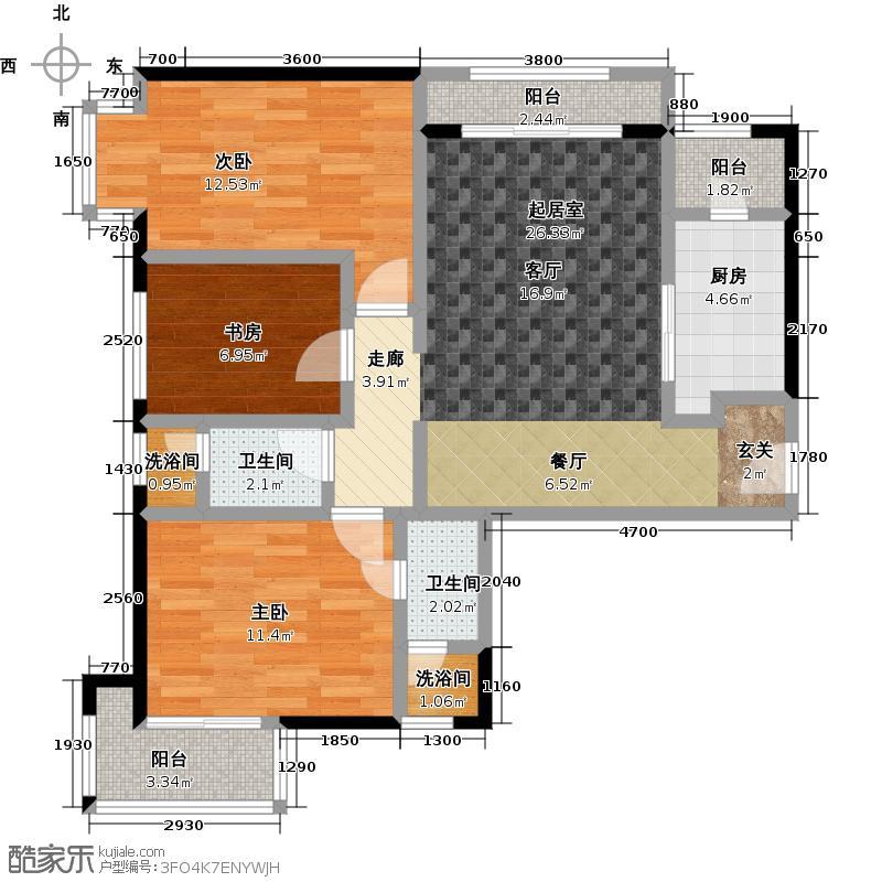 源盛嘉禾101.60㎡高层18号楼G-1户型3室2厅2卫