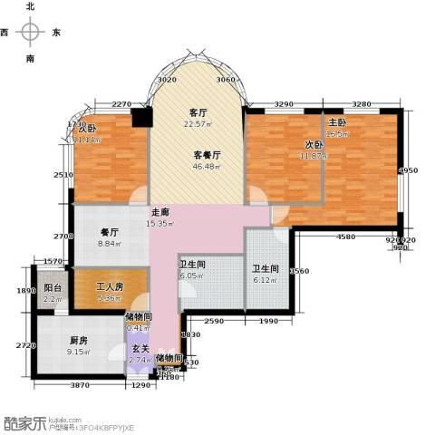 鹏润家园3室2厅2卫0厨186.00㎡户型图