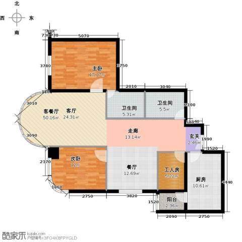鹏润家园2室2厅2卫0厨147.00㎡户型图