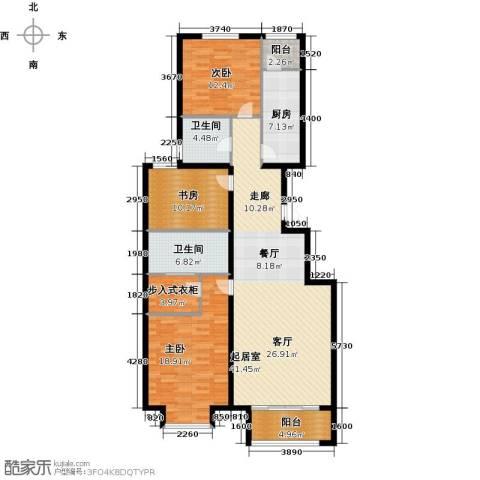 绿地新都会・国际花都3室2厅2卫0厨127.00㎡户型图