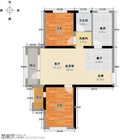 地恒托斯卡纳2室1厅1卫0厨64.43㎡户型图