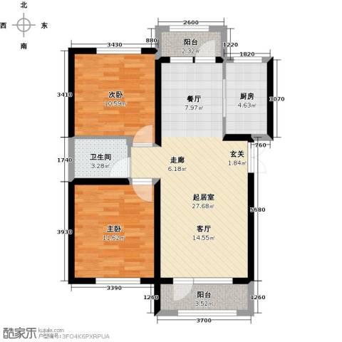地恒托斯卡纳2室2厅1卫0厨63.65㎡户型图