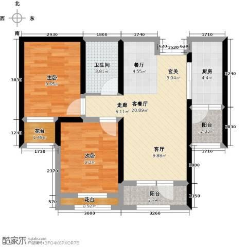 地恒托斯卡纳2室2厅1卫0厨55.52㎡户型图
