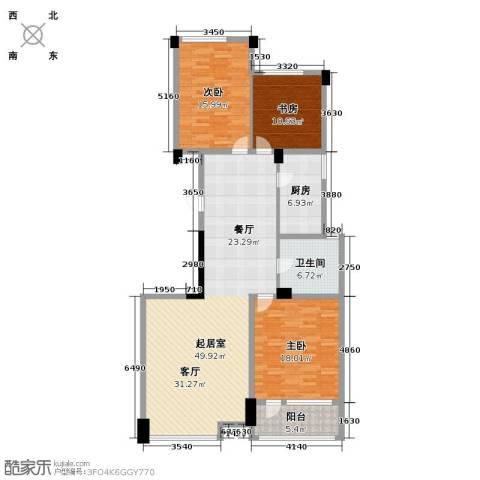 绿城・海宁百合新城3室2厅1卫0厨124.00㎡户型图