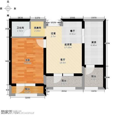 地恒托斯卡纳1室1厅1卫0厨47.42㎡户型图