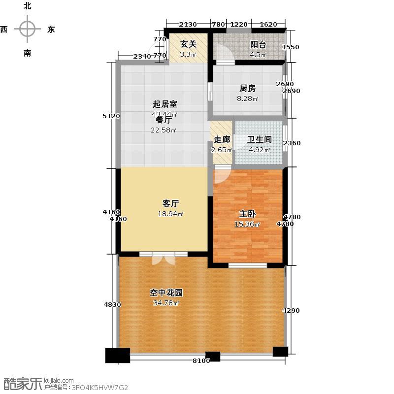 南湖国际社区235.00㎡D12A一层户型3室2厅3卫