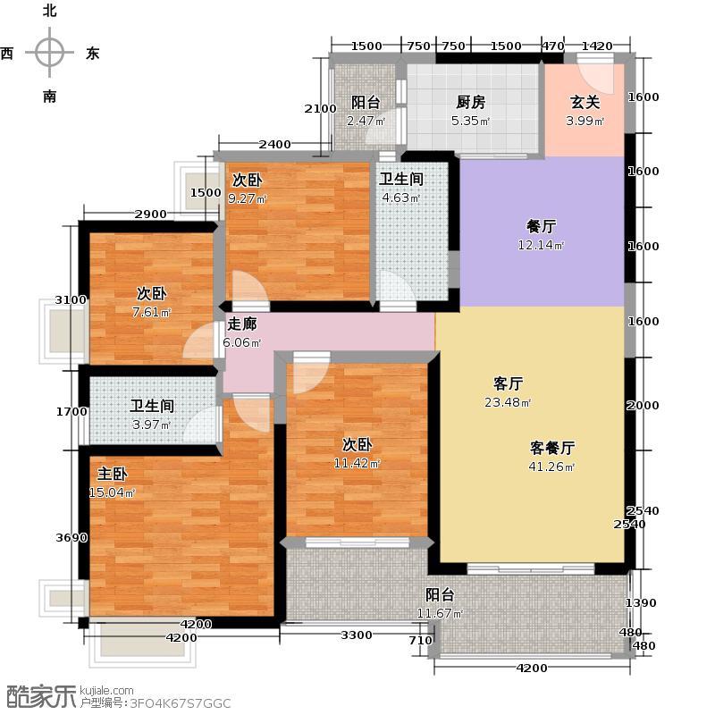 勤诚达22世纪128.95㎡5号楼户型3室2厅2卫