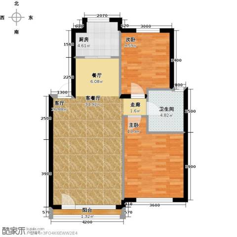 万棵树2室1厅1卫1厨84.00㎡户型图