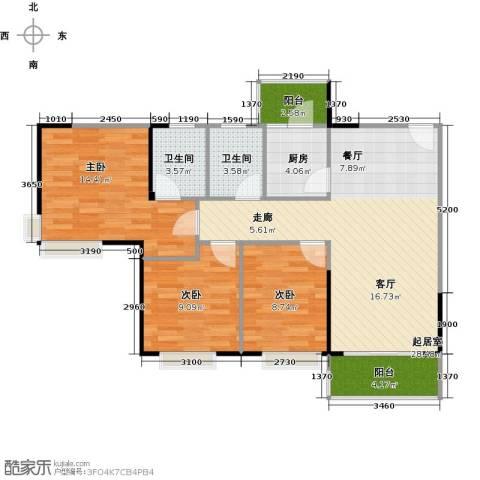 纯水岸3室2厅2卫0厨85.43㎡户型图