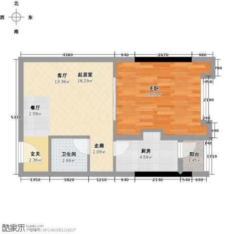 仁恒河滨花园1室1厅1卫0厨54.00㎡户型图