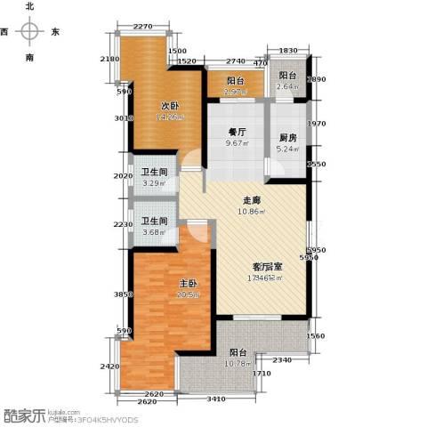 九锦台2室2厅2卫0厨127.00㎡户型图
