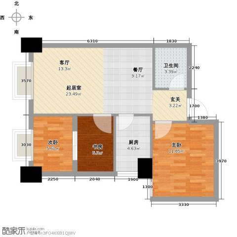 御笔华府3室0厅1卫1厨87.00㎡户型图
