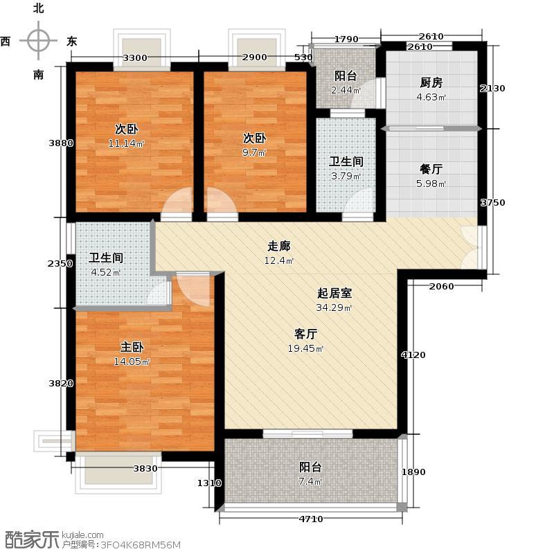 沁水新城127.11㎡-150套户型3室2卫1厨