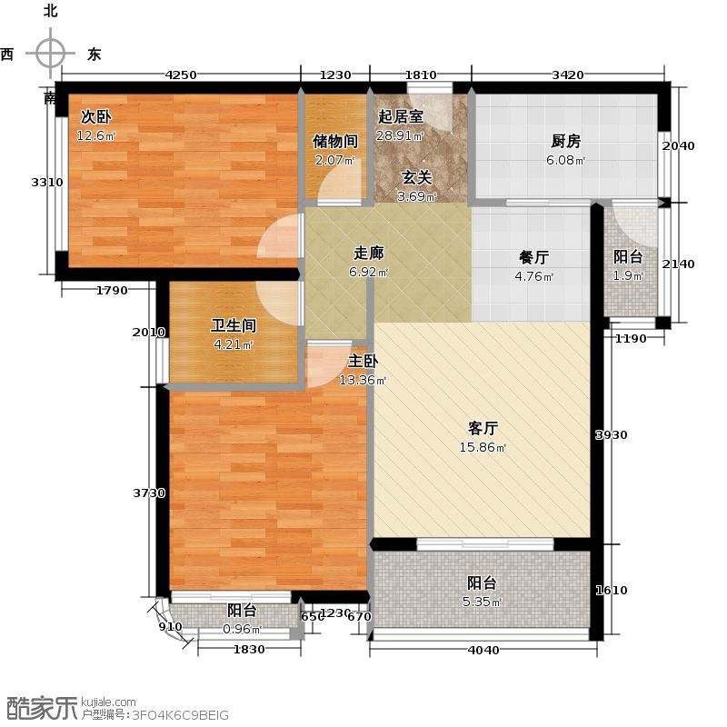 中粮云涛名苑86.00㎡A户型2室1厅1卫