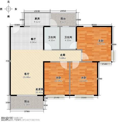 纯水岸3室2厅2卫0厨98.49㎡户型图
