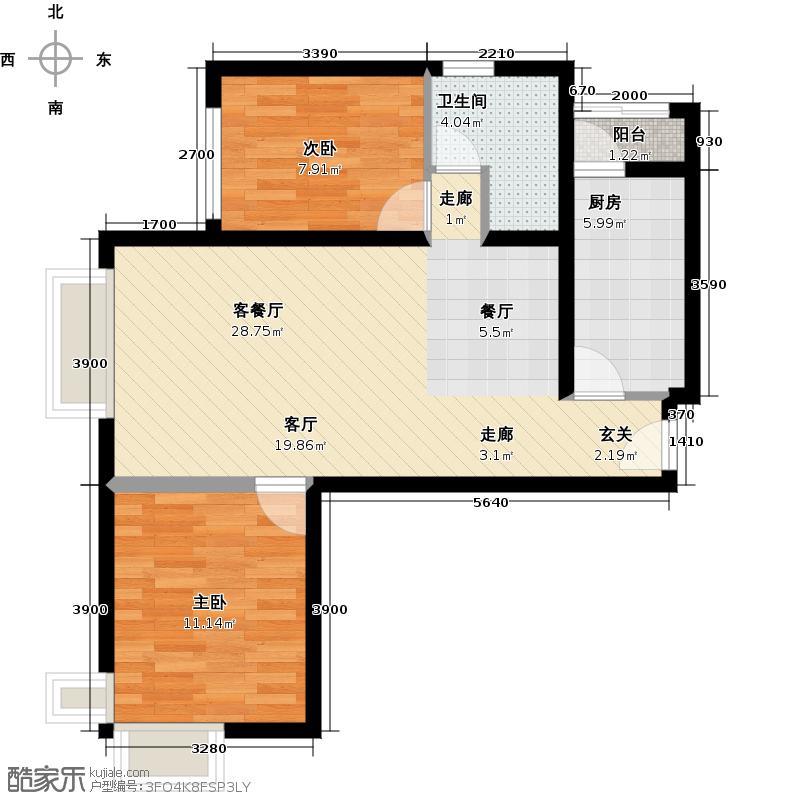 首城国际中心89.29㎡D区2-G(边)(已售完)户型10室