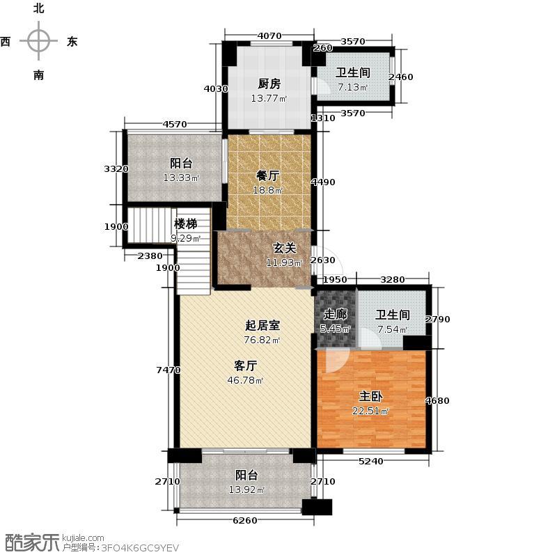 金地天逸185.00㎡7、11、12号楼E1跃层下层户型5室2厅3卫
