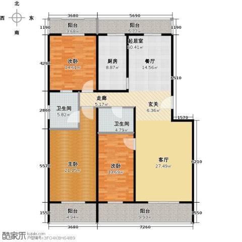 众智慧谷3室2厅2卫0厨157.00㎡户型图