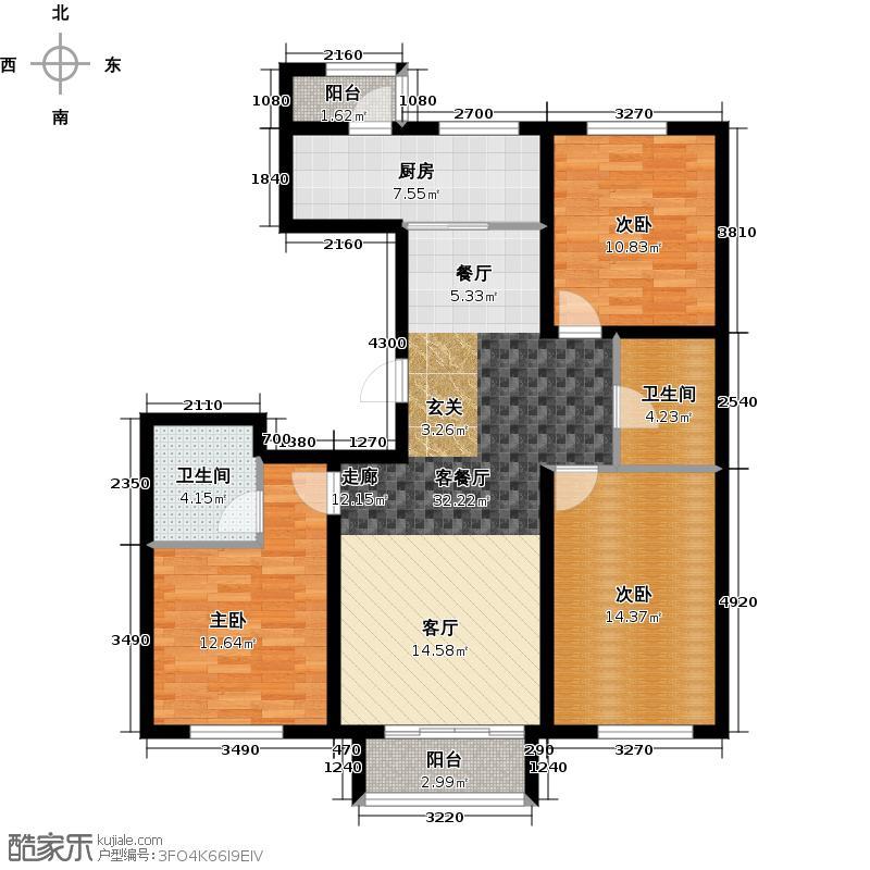 浅山香邑124.00㎡F户型3室2厅2卫