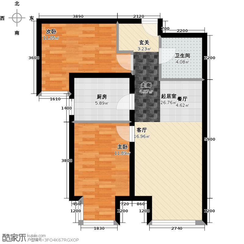 中建・国际城75.00㎡B1户型2室2厅1卫