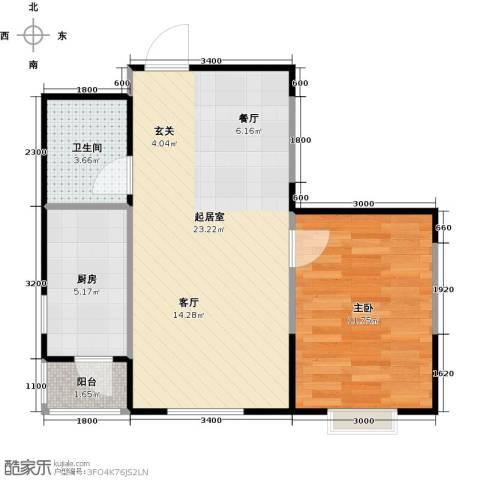 LOHAS上院7号公寓1室2厅1卫0厨65.00㎡户型图