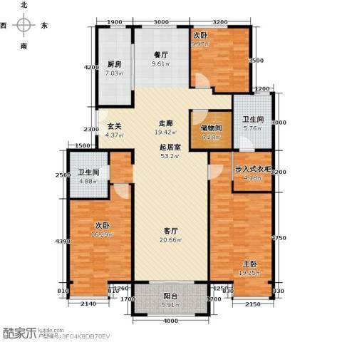 京投银泰・琨御府3室2厅2卫0厨168.00㎡户型图