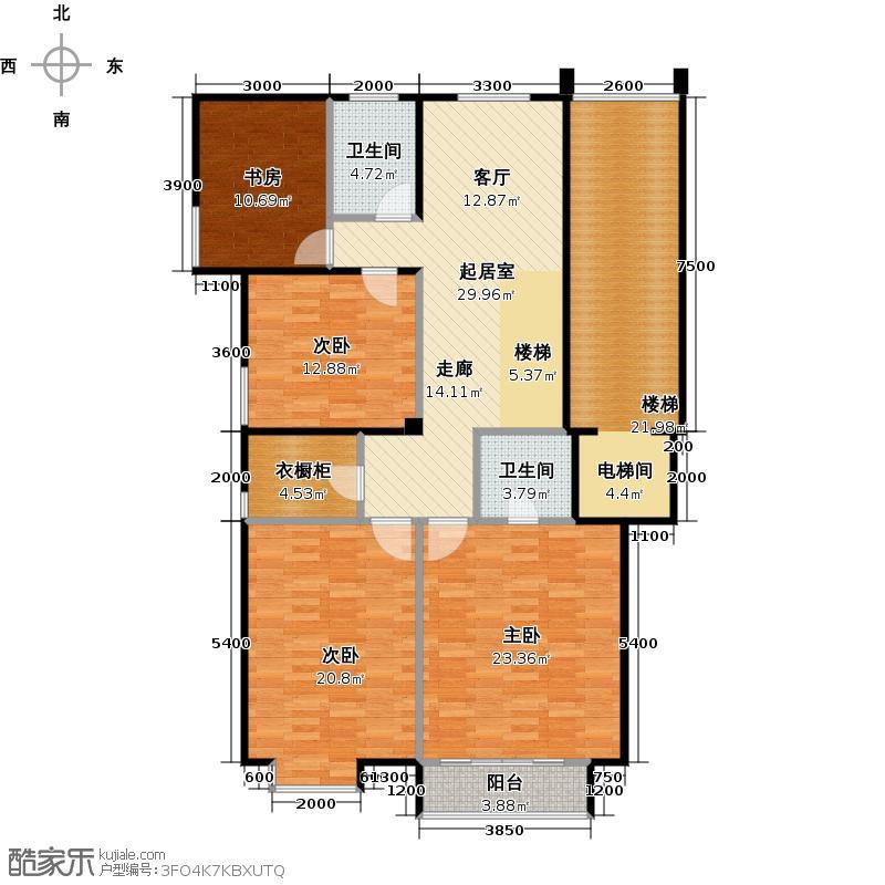 北塔三悦259.00㎡亲地别院J1户型6室3厅4卫